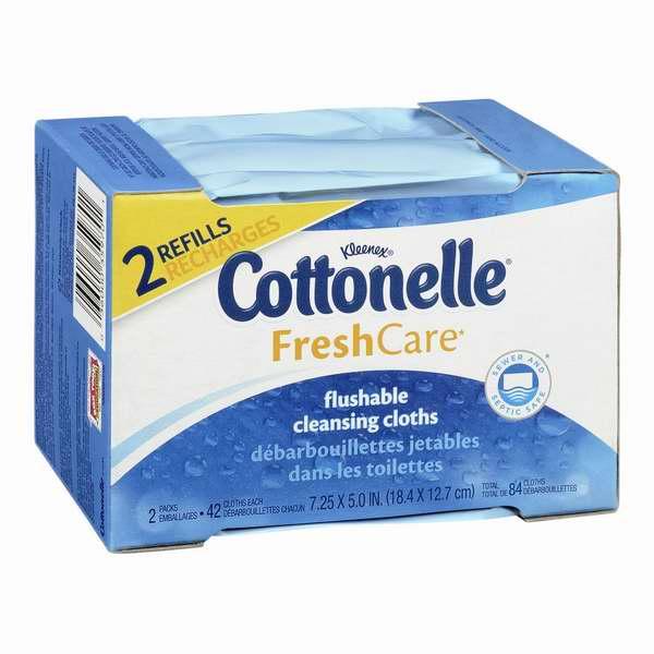 历史新低!Cottonelle Fresh Care 可冲马桶湿巾纸84张Refill装两件套2.6折 2.85-3.05元限时特卖!