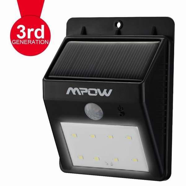 第三代Mpow 8 LED超亮太阳能防水感应灯17.99元,原价43.01元