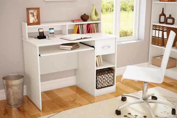 历史最低价!South Shore Furniture Axess Collection 1.06米白色电脑桌/书桌4.4折 76.19元限时特卖并包邮!