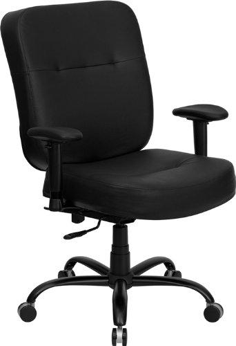 Flash Furniture WL-735SYG-BK-LEA-A-GG 大力神系列加宽黑色皮革旋转办公椅2.5折 207.73元限时特卖并包邮!
