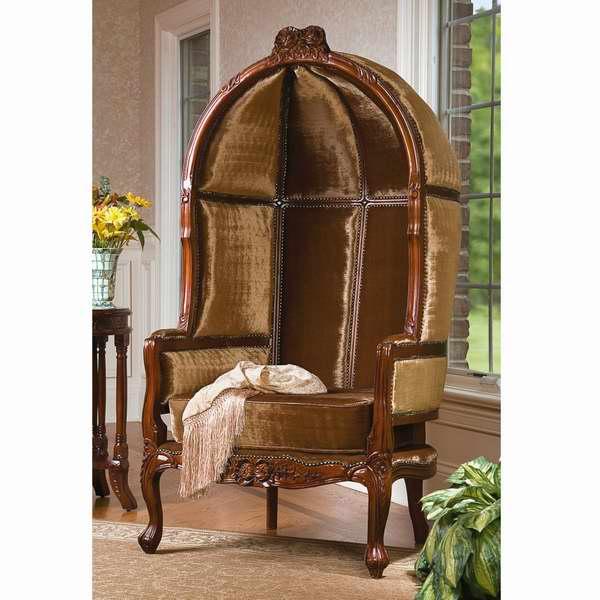 Design Toscano KS1140 古典英式维多利亚时代手工雕刻金色天鹅绒实木球椅2.9折 558.73元限时特卖并包邮!