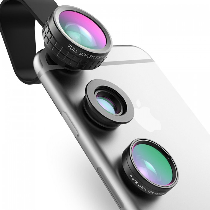 Aukey 3 in 1 超实用手机外接镜头组(微距+广角+鱼眼)特价13.99元,原价17.99元