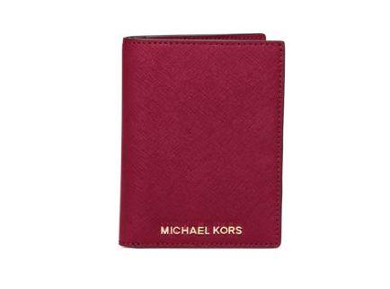 Michael Kors Jet Set 红色十字纹防刮真皮掀盖式钱包5折 44元限量特卖并包邮!