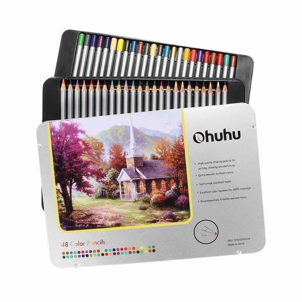 历史新低!Ohuhu 48色 专业彩色绘画铅笔铁盒装1折 9.99加元清仓!