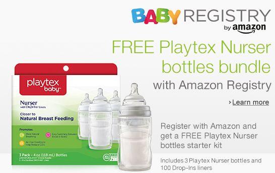在Amazon登记注册新生宝宝,送 Playtex 倍儿乐高效防胀气免洗奶瓶3只装及100个一次性内胆!再送婴儿用品9折优惠码!