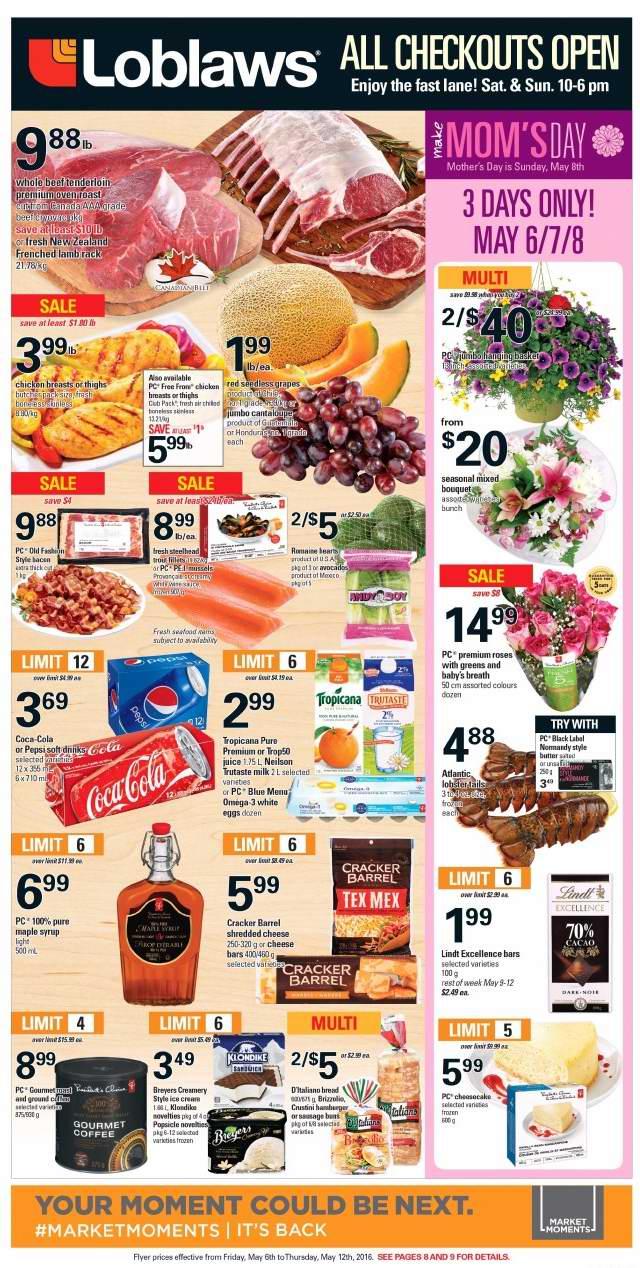 Loblaws超市本周(2016.5.6-2016.5.12)打折海报