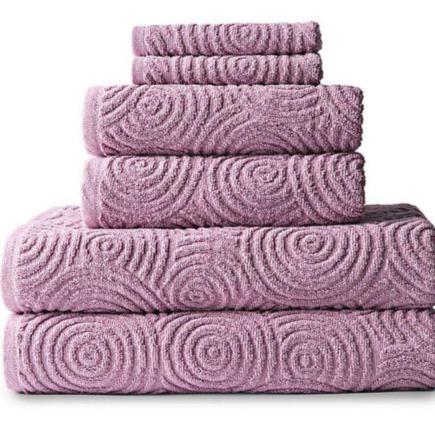 Jacquard Towel Set 印花棉毛巾6件套 11.99元特卖(六种颜色可选),原价29.99元