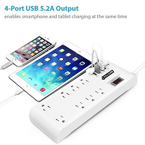BESTEK 8 插座 + 4 USB智能充电 6英尺长电涌保护插线板 23.99元限量特卖,原价 29.99元,包邮
