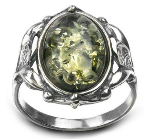 Amber by Graciana 绿色琥珀复古风格的侯爵夫人纯银戒指 27.98元特卖,原价 75.99元,包邮