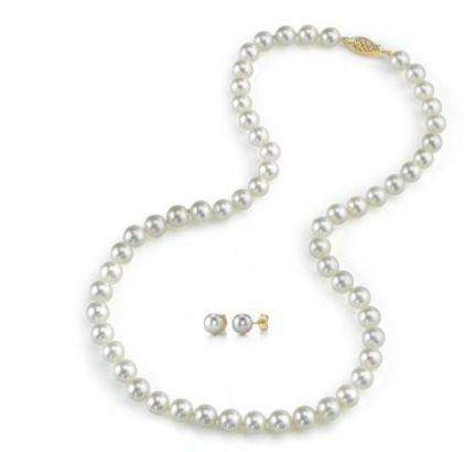 The Pearl Source  14K白金/黄金7-8mm白色淡水珍珠项链耳钉套装(18英寸长,AAA)特价225元,原价979元,包邮