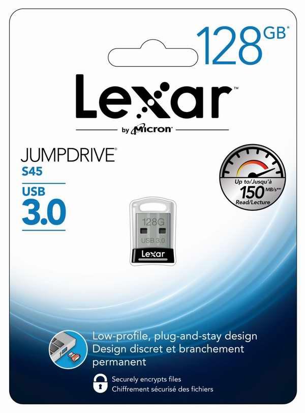 历史最低价!Lexar JumpDrive S45 USB 3.0 128GB闪存盘/U盘3.5折 34.99元限时特卖!