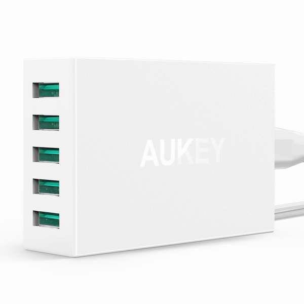 第二代 Aukey 50W/10A 5口大功率智能快速充电器16.99元限量特卖!