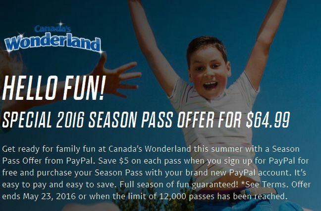 Paypal限时活动!新用户购买 Canada's Wonderland 奇幻乐园季票只需64.99元!