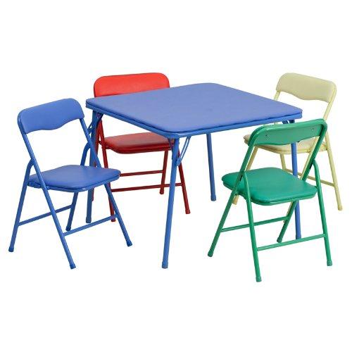 历史新低!Flash Furniture 儿童多彩软垫折叠桌椅5件套5.4折 85.82加元包邮!