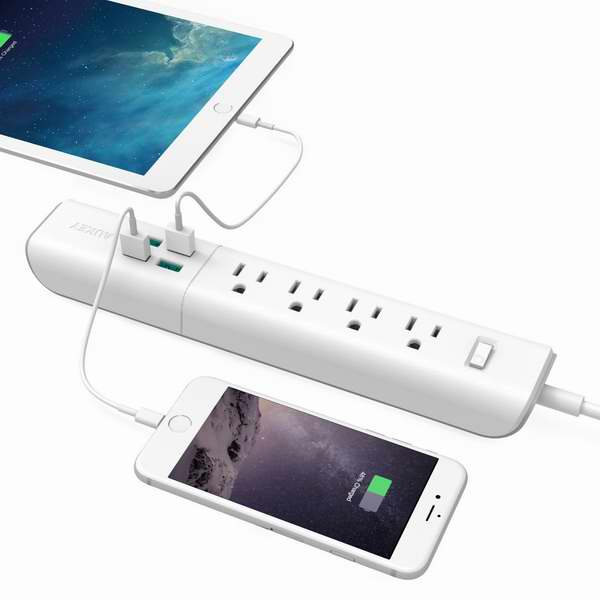Aukey 4 插座 + 4 USB智能充电 1.5米电涌保护插线板 23.99加元限量特卖!