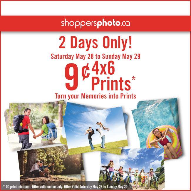 Shoppers Photo冲印4x6寸照片9分钱,100张起冲,仅限5月28日-29日!