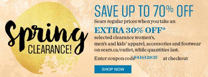Sears春季清仓开售!精选5千余款成人儿童服饰、鞋子、配饰等1折起清仓,额外再打7折!