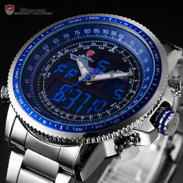 SHARK 鲨鱼 SH326 男式运动系列LCD液晶多功能石英腕表5.6折 42.79元限量特卖并包邮!
