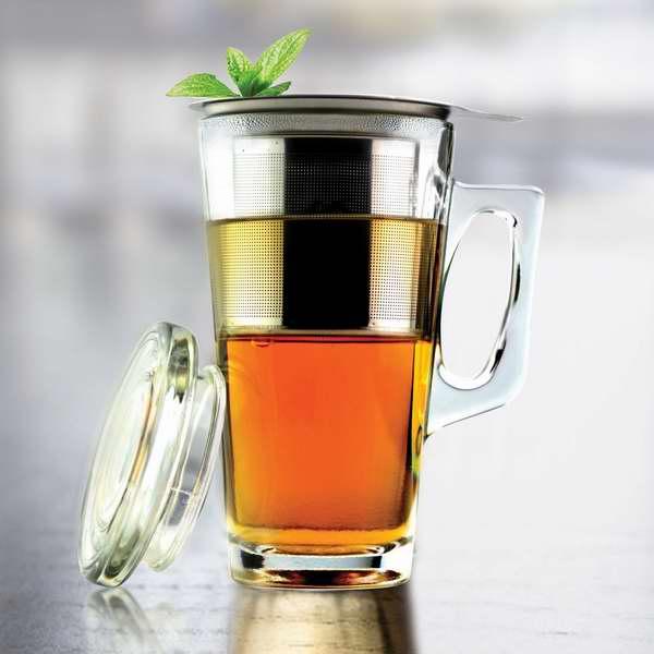 历史最低价!AdNArt 15盎司不锈钢过滤网玻璃茶杯4.2折 15元特卖!