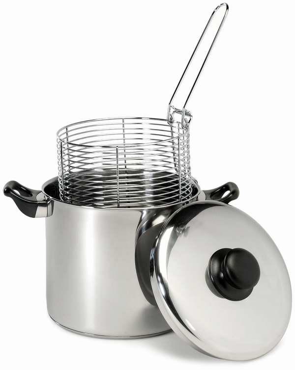 ExcelSteel 6夸脱不锈钢深煎炸锅套装7折 39.04元限时特卖并包邮!