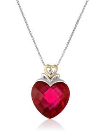 Amazon Collection 14k金红宝石心形吊坠纯银项链 72元,原价217.76元,包邮