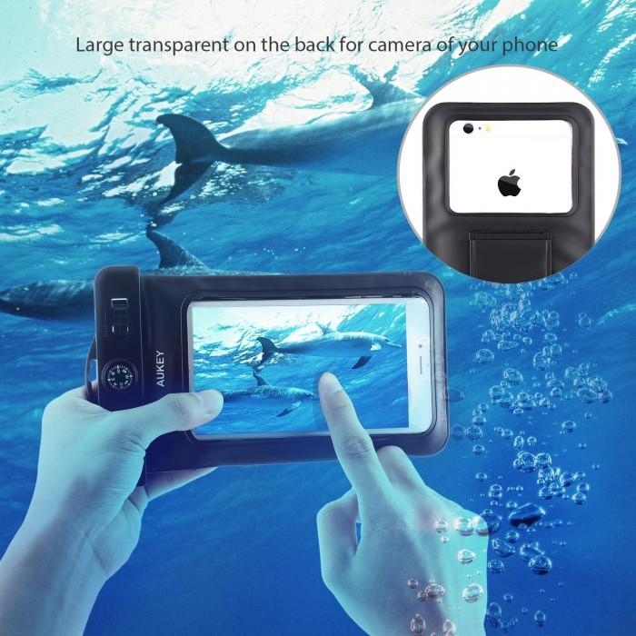 Aukey 6英寸通用透明手机防水保护套2.7折 7.99元限量特卖!配挂绳、臂带、指南针!