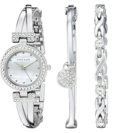 Anne Klein AK/1869SVST 施华洛世奇水晶腕表套装 113.6加元,原价 202.5加元,包邮