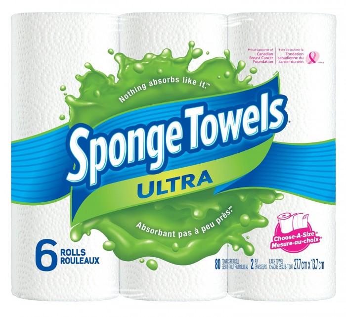 SpongeTowels 6卷厨房擦手纸 4.74加元,原价 7.96加元