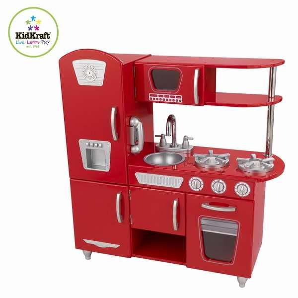 历史新低!KidKraft 53173 经典红色儿童厨房玩具套装 112.49加元,原价 219.99加元,包邮