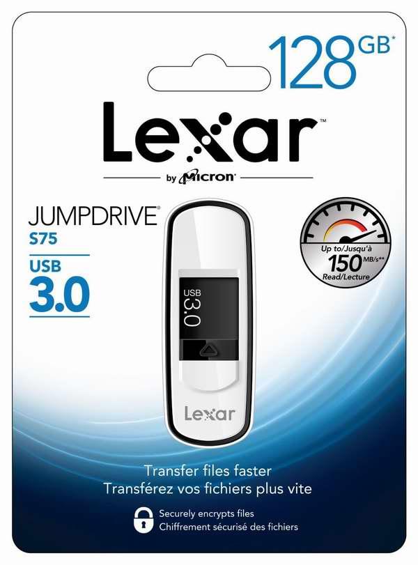 历史最低价!Lexar 雷克沙 JumpDrive S75 USB 3.0 128GB 高速U盘/闪存盘1.5折24.99元限时特卖并包邮!