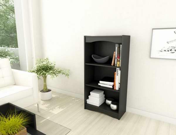 Sonax Hawthorn 1.21米黑色3层书柜6折 56.99元限时特卖并包邮!