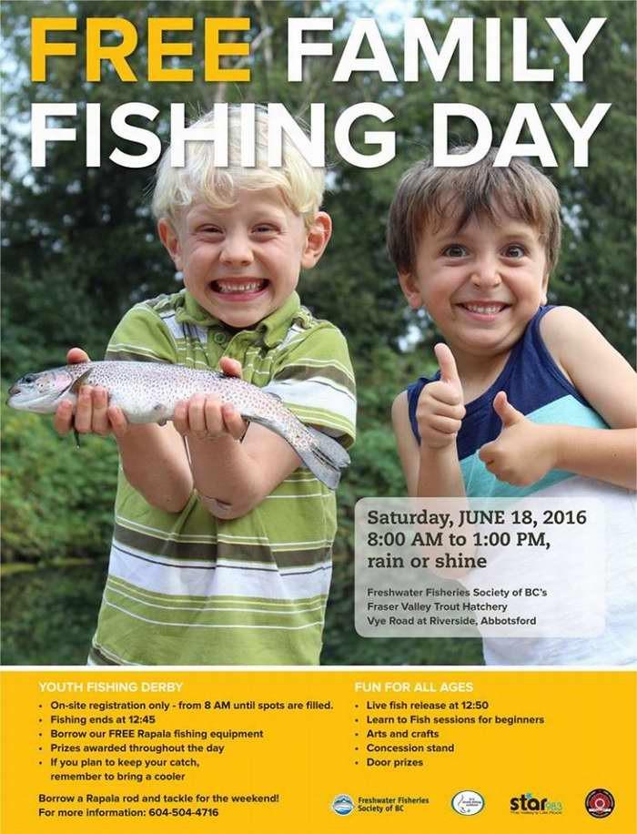 卑诗省庆祝父亲节,本周末(6月17日-19日)举行免费钓鱼活动!