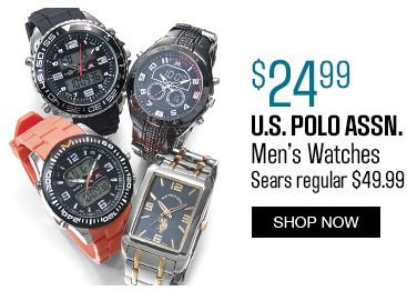 Sears精选23款 U.S. Polo Assn. 美国马球协会 男士时尚腕表全部5折24.99元限时特卖!额外9折或立减10元!