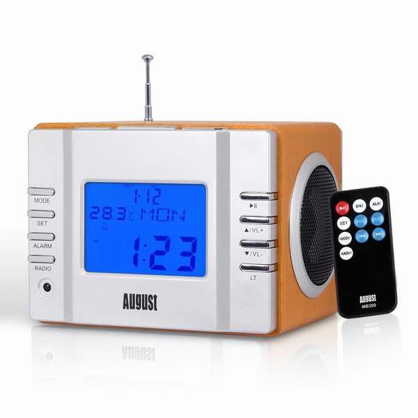 August MB300 便携式FM收音/闹钟/MP3播放/可充电立体声音箱 29.75加元限量特卖!