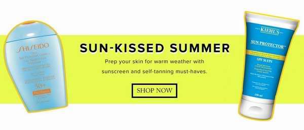 The Bay精选89款 Shiseido、Kiehl's、Estee Lauder、Biotherm 等品牌热销款夏日防晒护肤品,立减10-20元!