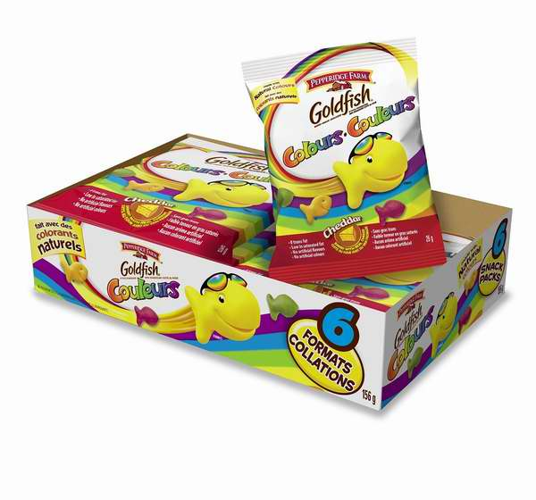 好吃又健康!Pepperidge Farm Goldfish 小金鱼水果天然多彩芝士饼干(Snack装 26克x108包)6.2折 35.46元限时特卖并包邮!