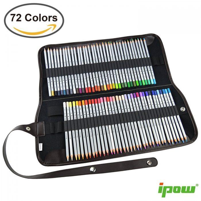 Ipow 72 色绘画艺术铅笔+水洗帆布笔袋 48.89元特卖,原价 58.98元,包邮