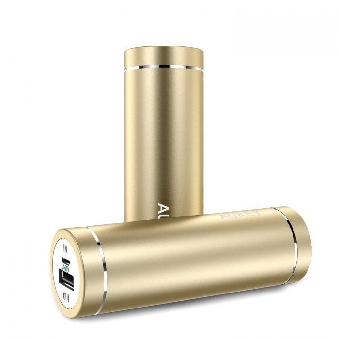 AUKEY  5000mAh 口红式超便携移动电源/充电宝 13.59元起限量特卖(3色可选),原价 19.99元