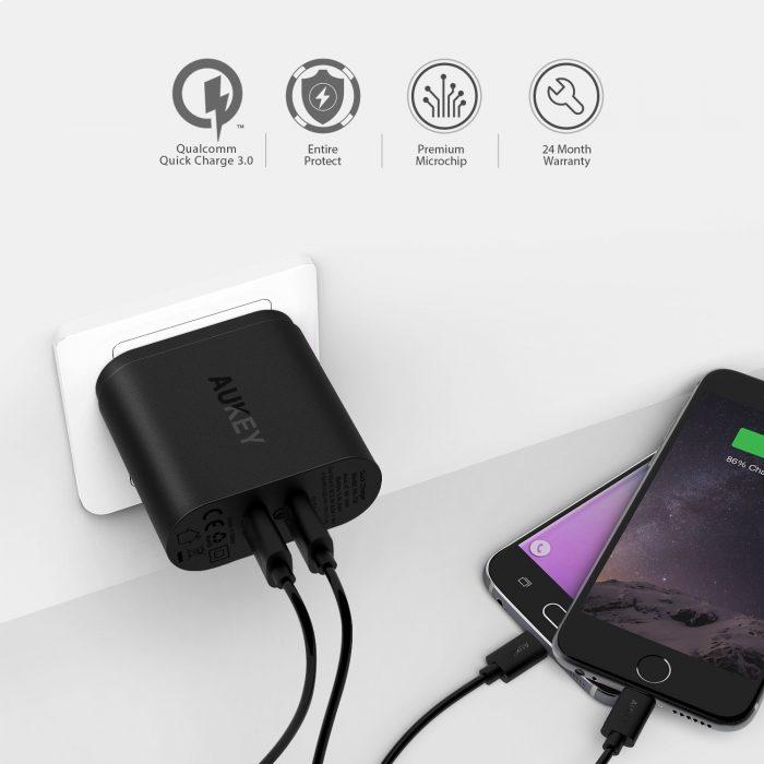 AUKEY 快速充电3.0 2个USB接口壁式充电器 19.99元限量特卖,原价 25.99元,包邮
