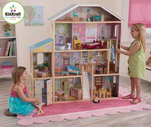 最炫酷的生日礼物!KidKraft 65252 1.35米大型玩具娃娃屋5.4折 176.99元限时特卖并包邮!