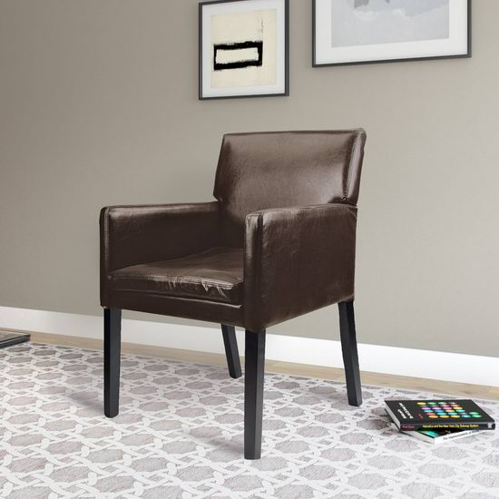 CorLiving LAD-629-C Antonio Accent 实木皮革软垫扶手椅6.1折 150.98元限时特卖并包邮!