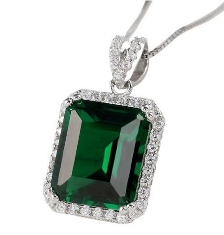 Newshe Jewellery 绿翡翠吊坠+纯银项链 33.99元限量特卖,原价 99.98元,包邮