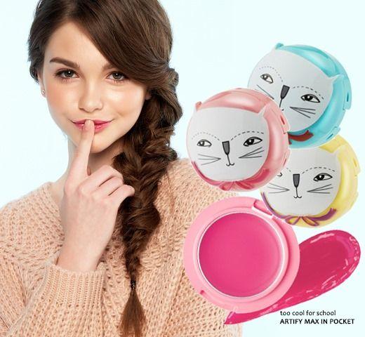 超可爱!Too Cool For School 猫猫润唇膏 15元特卖!3色可选!