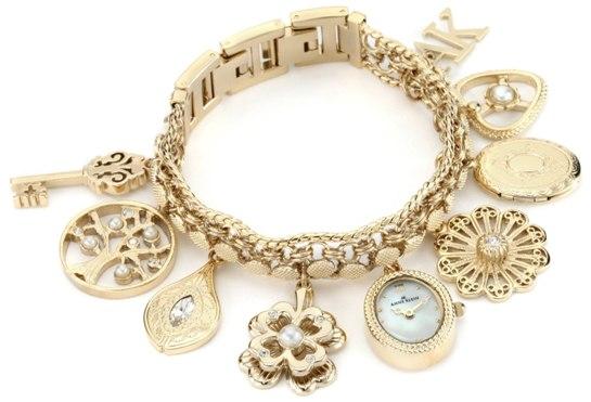 历史新低!Anne Klein 安妮克莱因 10-8096CHRM 施华洛世奇水晶金色挂坠镯子腕表4.9折 86.87元限时特卖并包邮!