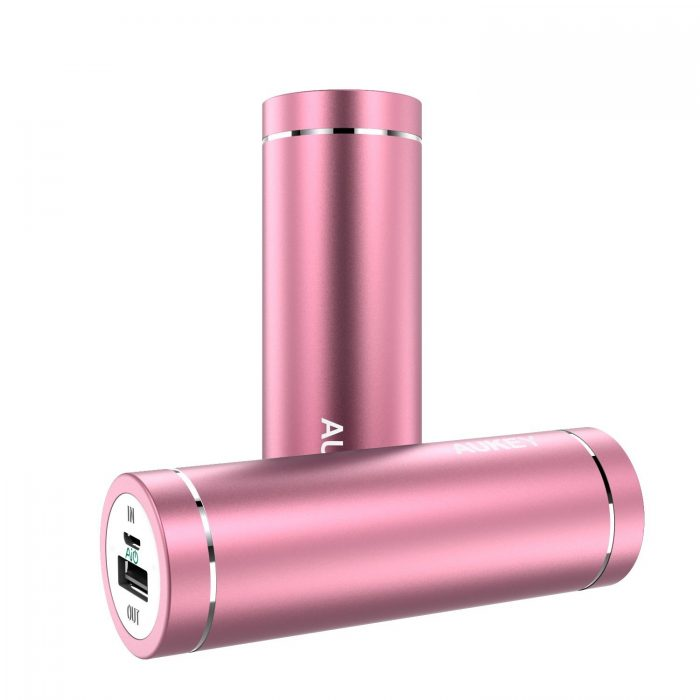 Aukey 5000mAh 口红式超便携移动电源/充电宝 15.99元限量特卖,原价 35.99元
