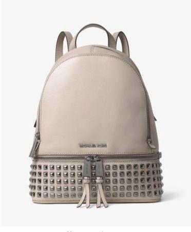 时尚街拍 超模示范! Michael Kors Rhea 女士小号铆钉皮背包5.6折 211.68元限时特卖并包邮!