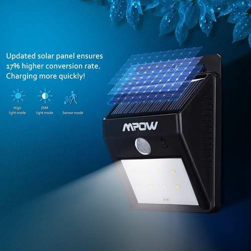 2016款 Mpow 8 LED 太阳能防水运动感应灯7.5折 14.2元限量特卖!