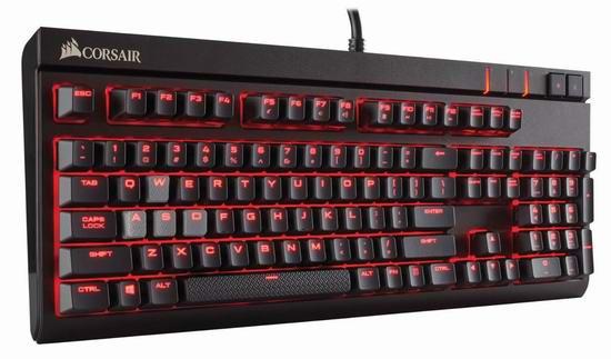 历史最低价!Corsair 海盗船 STRAFE 惩戒者 Cherry CH-9000088-NA 红轴机械键盘6折 89.99元限时特卖并包邮!