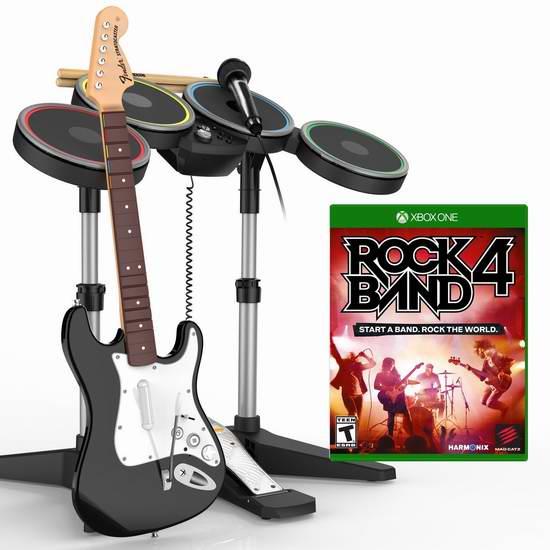 超级酷炫!Xbox One游戏《Rock Band 摇滚乐队4》及乐队套装(无线架子鼓、无线吉他、舞台级USB麦克风)6.3折 220元限时特卖并包邮!