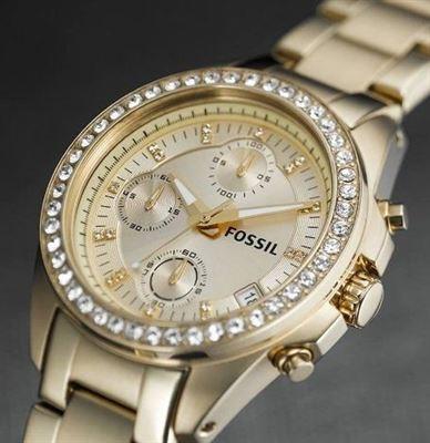 Fossil Decker-ES2683 女士优雅金色三眼计时石英腕表6.9折 100.06元限时特卖并包邮!